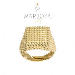 Anello con borchie quadrato in argento 925 dorato, sigillo puntinato, unisex