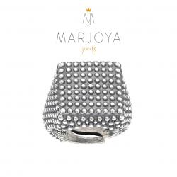 Anello con borchie quadrato in argento 925 brunito, sigillo puntinato, unisex