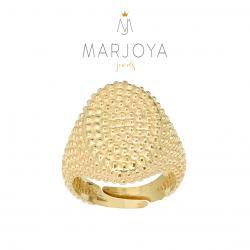 Anello con borchie ovale in argento 925 dorato, sigillo puntinato, unisex