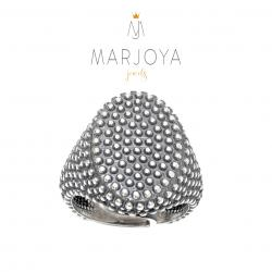 Anello con borchie ovale in argento 925 brunito, sigillo puntinato, unisex