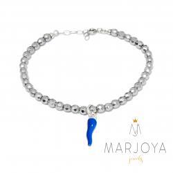 Bracciale con cornetto blu in argento 925 ed ematite,regolabile