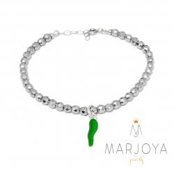 Bracciale con cornetto verde in argento 925 ed ematite,regolabile