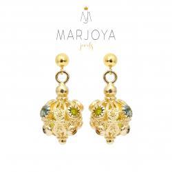 Orecchini charms in argento dorato con zirconi multicolor