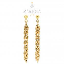 Orecchini pendenti a catena 8 cm in argento dorato