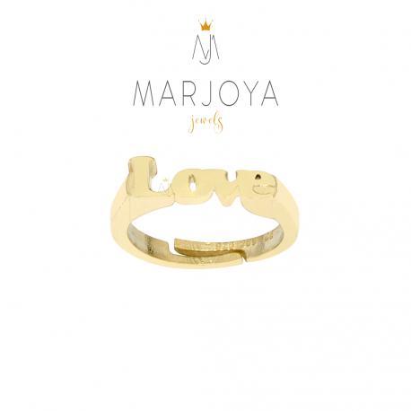 Anello LOVE in argento 925 dorato, regolabile