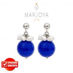 Orecchini pendenti con quarzo blu,perle e argento 925
