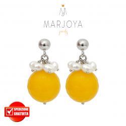 Orecchini pendenti con quarzo giallo,perle e argento 925