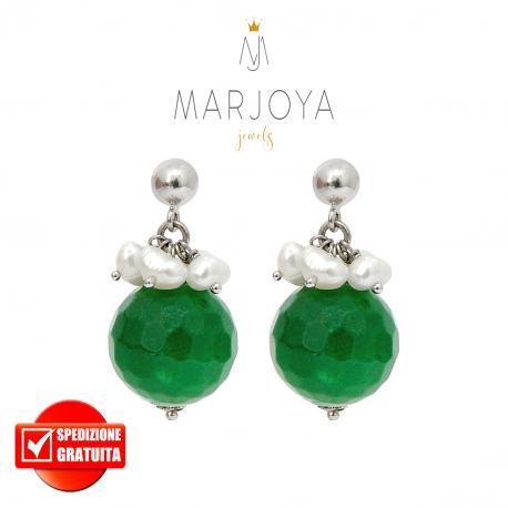 Orecchini pendenti con quarzo verde,perle e argento 925