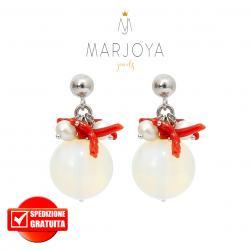 Orecchini pendenti con quarzo trasparente, perle, corallo e argento 925