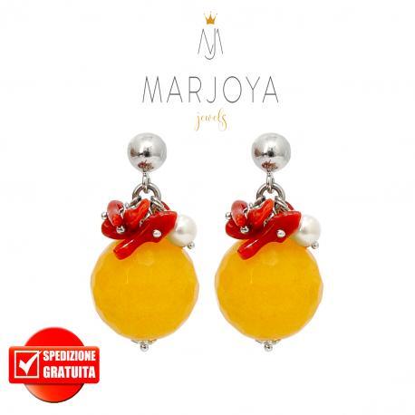 Orecchini pendenti con quarzo giallo, perle, corallo e argento 925