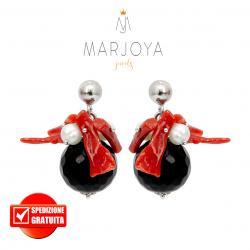 Orecchini pendenti con onice nero, perle, corallo e argento 925