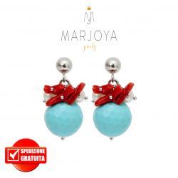 Orecchini pendenti con turchese, perle, corallo e argento 925