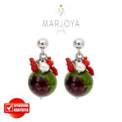 Orecchini pendenti con quarzo verde floreale, perle, corallo e argento 925