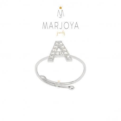 Anello con iniziale personalizzata e zirconi in argento 925, dorato e rosè, regolabile