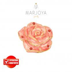 Anello con fiore in ceramica rosa e corallo in argento 925 dorato