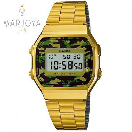 Orologio casio a168wegc-3d acciaio dorato unisex, mimetico militare