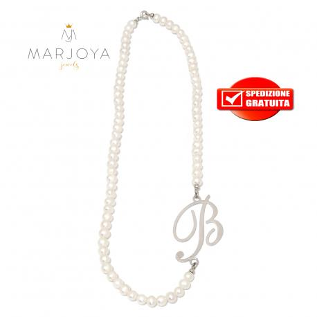 """Collana in perle naturali d'acqua dolce e iniziale """"b"""" in argento 925"""