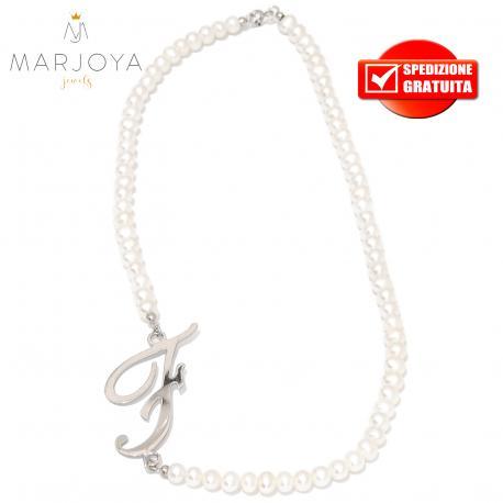 """collana in perle naturali d'acqua dolce e iniziale """"f"""" in argento 925"""