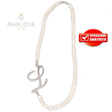 """collana in perle naturali d'acqua dolce e iniziale """"l"""" in argento 925"""