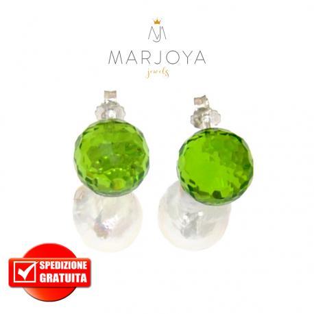 Orecchini in argento 925 con perle barocche e swarovski verde