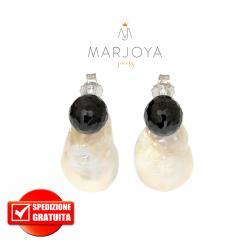 Orecchini in argento 925 con perle barocche e swarovski nero