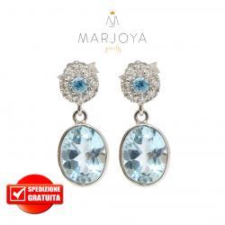Orecchini pendenti in oro 18 kt con diamanti ct. 0,16 e topazio azzurro