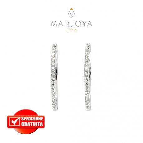 Orecchini ovali in oro bianco 18 kt con diamanti ct. 0,42