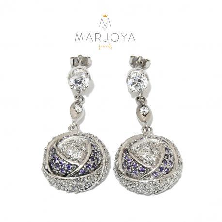Orecchini pendenti in argento 925 rodiato con zirconi bianchi,blu e viola