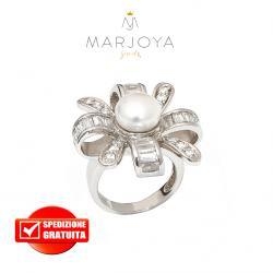 anello fiocco con perla in argento 925 rodiato con zirconi bianchi