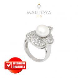 anello nuvola con perla in argento 925 rodiato con zirconi bianchi