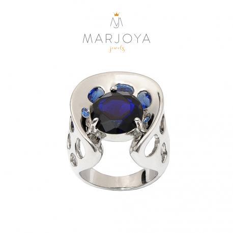 anello in argento 925 rodiato con zirconi blu,viola e arancioni
