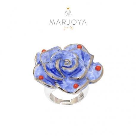 Anello in argento 925 rodiato con fiore in ceramica e corallo,regolabile