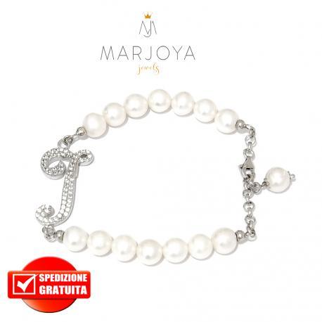 """Bracciale in argento 925 con iniziale """"I"""" e perle di fiume"""