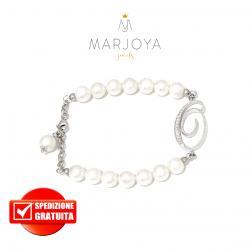"""Bracciale in argento 925 con iniziale """"O"""" e perle di fiume"""