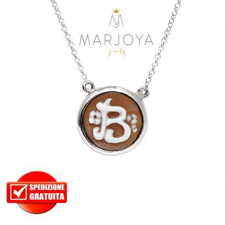 """Collana con cammeo in argento 925 iniziale """"B"""" donna"""