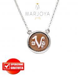 """Collana con cammeo in argento 925 iniziale """"V"""" donna"""