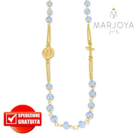 Rosario in argento 925 dorato collana girocollo con swarovski azzurrini