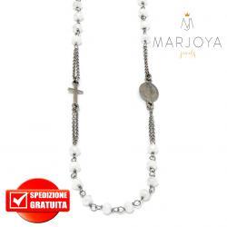 Rosario in argento 925 brunito collana girocollo con swarovski bianchi