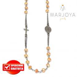 Rosario in argento 925 brunito collana girocollo con swarovski gold