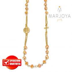 Rosario in argento 925 dorato collana girocollo con swarovski gold