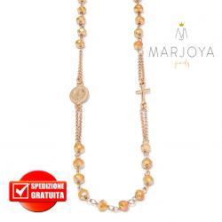 Rosario in argento 925 rosè collana girocollo con swarovski gold