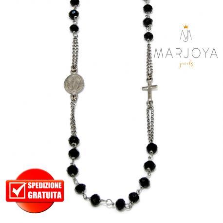 Rosario in argento 925 brunito collana girocollo con swarovski neri