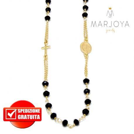 Rosario in argento 925 dorato collana girocollo con swarovski neri