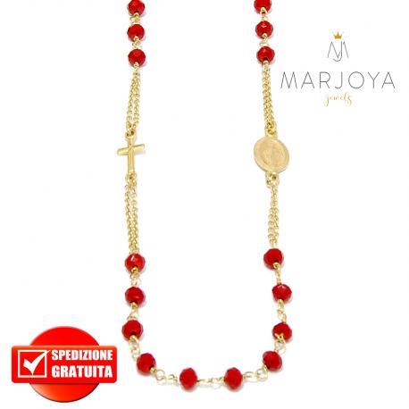 Rosario in argento 925 dorato collana girocollo con swarovski rosso scuro