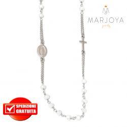 Rosario in argento 925 collana girocollo con swarovski bianchi