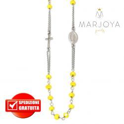 Rosario in argento 925 collana girocollo con swarovski gialli