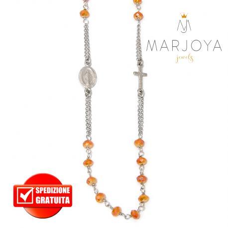 Rosario in argento 925 collana girocollo con swarovski gold