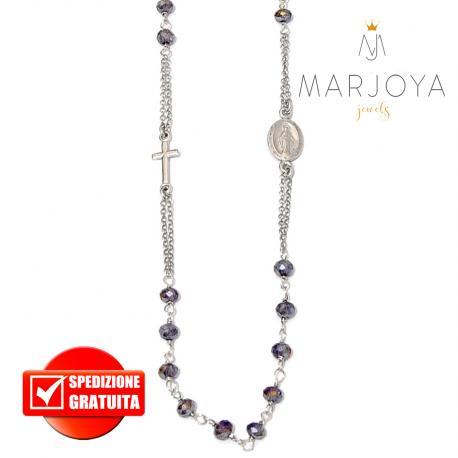 Rosario in argento 925 collana girocollo con swarovski viola boreale