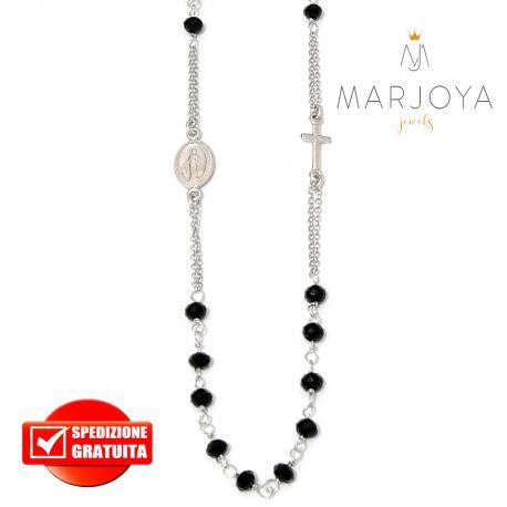 Rosario in argento 925 collana girocollo con swarovski neri