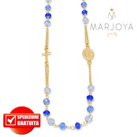 Rosario in argento 925 dorato collana girocollo multicolor con swarovski azzurri e blu